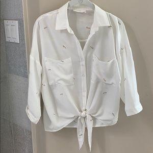Lush Dandelion white button down blouse